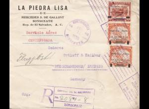 El Salvador 1930 Sonsonate registered to Rückmarsdorf