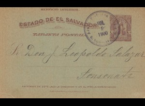 El Salvador 1900 post card to Sonsonate