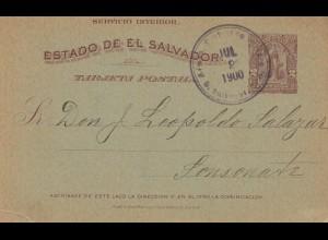El Salvador 1900 post card to Sonsonate
