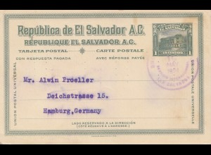 El Salvador 1924 post card Banco Occidential to Hamburg