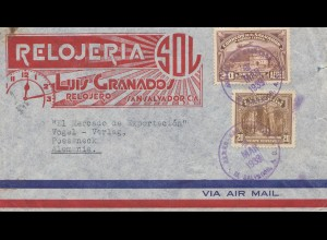 El Salvador 1939 air mail to Pößneck