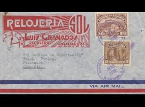 El Salvador 1939 air mail to Pößneck