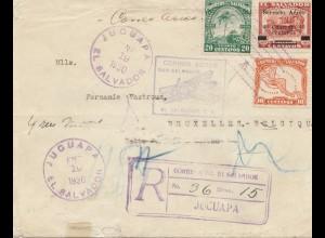 El Salvador 1930: Registered Jucuapa to Brussels/Belgium, aero