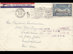 El Salvador 1950: air mail San Salvador to Hamburg, par Avion a New York