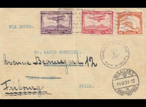 El Salvador 1931: air mail San Miquel to Saint Gallen, forwarded Fribourg/Swiss
