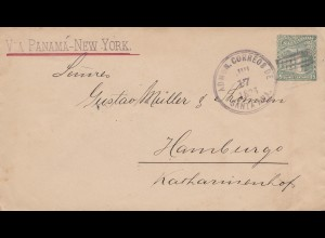 El Salvador 1896: letter via Panama - New York from Santa Ana to Hamburg