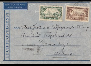 Senegal: air mail 1938 Dakar to Gravenhage/Holland