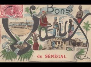 Senegal: 1909: Bons Voeux du Sénégal, nice post card