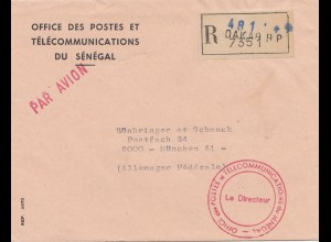 Senegal: registered Dakar Office des Postes es Telecommunications, air mail