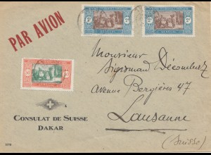 Senegal: 1930: air mail consulat de Suisse to Lausanne