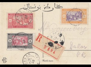 Senegal: 1928: registered Dakar, post card Khair Eddin, capitan pacha, d' Alger