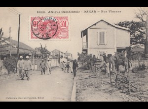 Senegal: 1908: post card Dakar, rue Vincena to Paris