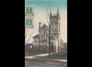 Seychelles, 1914: post card Presbyterian Church Waterloo, Ont to Troyes/France