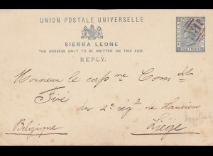 Sierra Leone: Reply Post card to Liege/Belgium