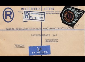 Sierra Leone: Freetown, air mail registered to Nürnberg
