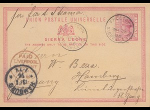 Sierra Leone: 1896: post card Freetown to Hamburg