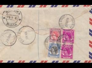 Malaysia: 1956 Registered Penang to Kandanur, Ramnad Distr. India