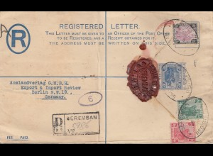 Malaysia 1925: Registered Seremban to Berlin