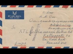 Malaysia 1950: air mail Klang to Kalluppatti/Karai Kudi/Ramnad Distr. Indien