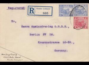 Malaysia: 1922: Registered Kuala Lumpur to Berlin