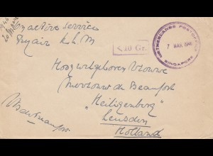 Singapore: 1946: Nederlands post office - 10 Gr. to Heiligenberg/Leusden/Holland