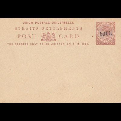 Malaysia: Straits Settlements, post card unused