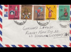 Singapore: 1971: air mail Airport-A to Ilmenau