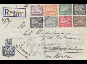 Malaysia: 1937: Registered Porto Swettenham to Tutzing, Weiterleitung Starnberg