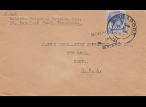 Singapore 1940: leter to New Haven/Conn. USA; Passed for Transmission