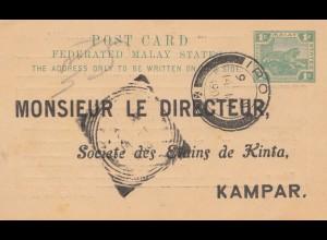 Malaysia: 1908: post card Ipoh to Kampar