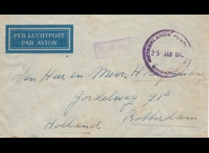 Singapore: 1940: Nederlands post office - 10 Gr. air mail to Rotterdam/NL