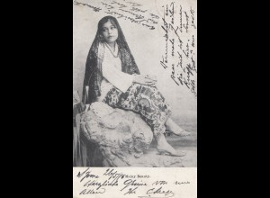 Malaysia: 1910: post card Malay Beauty to Bremen, Perfin