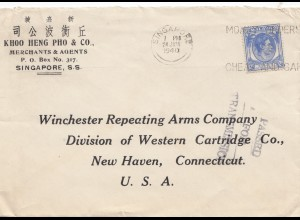 Singapore: 1940: letter to New Haven/Conn, USA; Passed for Transmission
