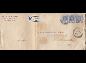 Malaysia: 1922: Registered Penang to Berlin