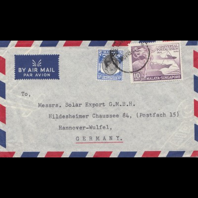 Singapore: 1949: air mail to Hannover - Wulfel