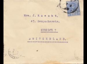 Malaysia: 1891: letter Sarawak/Miri to Zürich-Switzerland