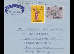 Singapore: 1972: air mail to Darmstadt