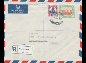 Sudan 1952: air mail registered Khartoum to Iserlohn