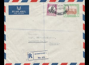 Sudan 1952: air mail registered Khartoum 2 to Iserlohn