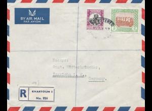 Sudan 1952: air mail registered No. 956 Khartoum 2 to Iserlohn