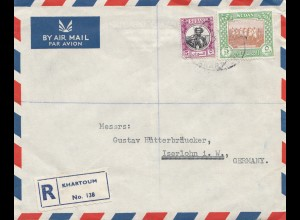 Sudan 1952: air mail registered No. 138 Khartoum 2 to Iserlohn