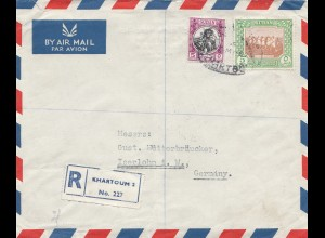 Sudan 1952: air mail registered No. 227 Khartoum 2 to Iserlohn