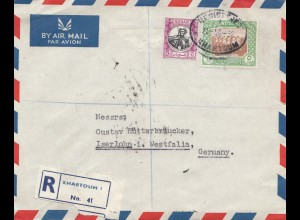 Sudan 1952: air mail registered No. 041 Khartoum 2 to Iserlohn
