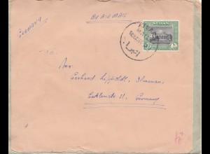 Sudan 1956: air mail Atbara to Ilmenau, Beschädigt eingegangen Berlin NW I