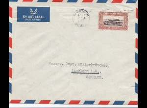Sudan 1952: Kharthoum air mail registered to Iserlohn