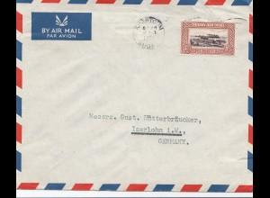 Sudan 1952: Kharthoum air mail registered to Iserlohn