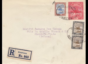 Sudan 1922: registered Khartoum to Chaux-de-Fonds/Switzerland