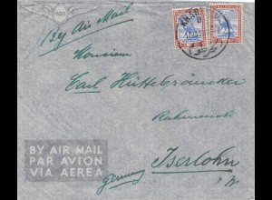 Sudan 1938: air mail Khartoum to Iserlohn