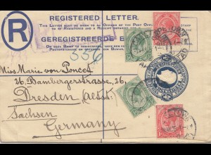 South Africa 1925: Cape Town registered letter to Dresden