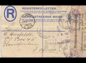 South Africa 1922: Randfontein to Osnabrück; Zensur Reichsfinanzverwaltung